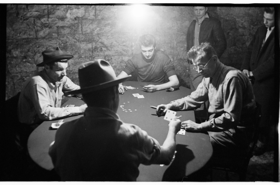 "Nelson Algren playing poker with ""Frankie Machine"" and others. Photo by Art Shay."