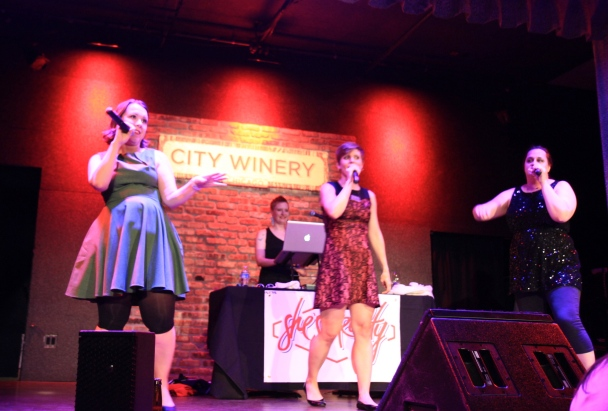 Stevens, Jenkins and Sumpter bust a move at a recent City Winery show. Reid is in the background.    Photo by Kelsey Mindham.