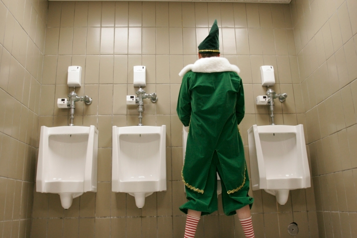 After a long shift at Macy's, an elf has to do what an elf has to do... Photo by Johnny Knight.