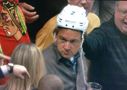 Kevin Mize after stealing Adam Pardy's helmet.