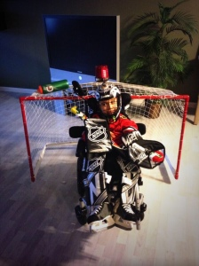 Anthony as a goalie.