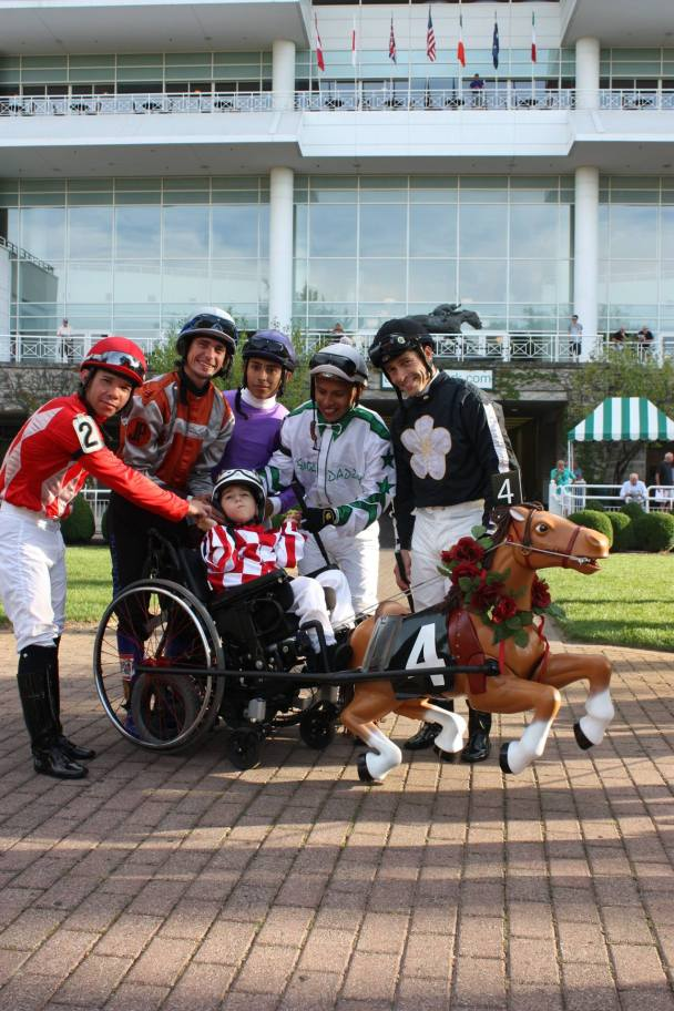 Tony Alfano at a recent appearance at Arlington International Race Track dressed as a harness horse jockey.