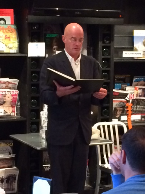 James Fearnley reading his memoir at a Chicago appearance. Photo by James Clarke.