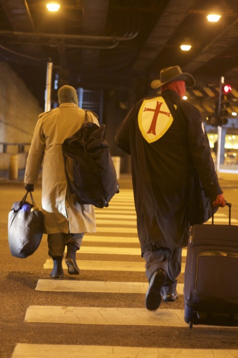 Crusade Prime and Wraith hitting the streets in search of homeless people to help. Photo by Megan Boguszko.