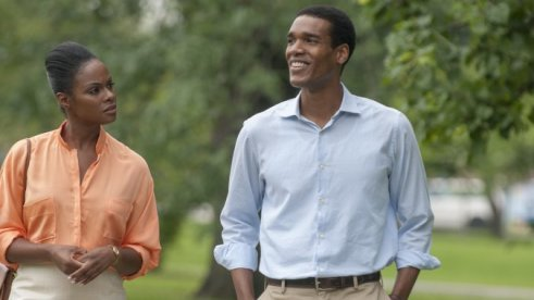 Tika Sumpter as Michelle Robinson and Parker Sawyers as Barack Obama in 'Southside With You'