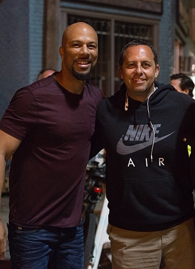 Teitel with Common on the set of Barbershop: The Next Cut.