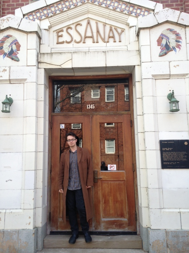 Adam Selzer in front of the main entrance at Essanay Studios, now part of St. Augustine College.