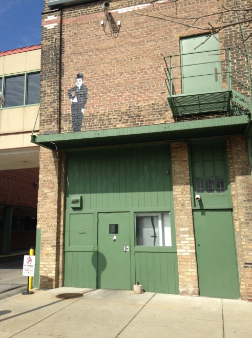 Small tributes to Charlie Chaplin, Essanay's biggest star, are located in various spots on and around the building.