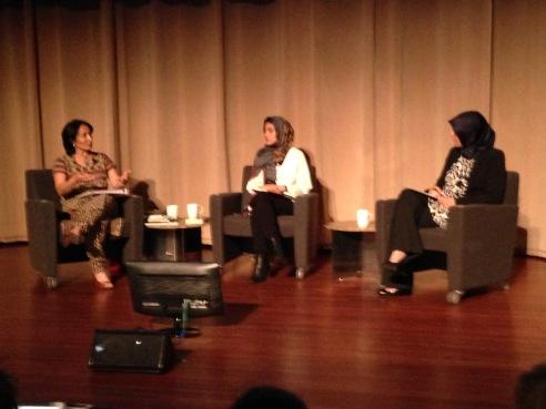 (Left to right) Asra Nomani, Hoda Kotebi and moderator Duaa Eldeib