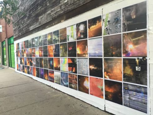 Mass_Observation, currently on display outside The Violent Hour, 1520 N. Damen Avenue. Photo by Krista Wortendyke.