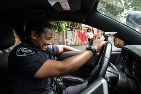 CaBria Davis, Camden, NJ, works the beat as a police officer in Camden, NJ. Photo by Lynsey Addario.